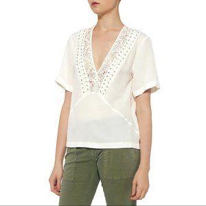 A.L.C. Annora Lace Silk Top in Ivory
